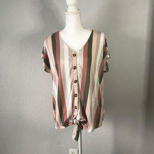 Torrid Striped Short Sleeve Button Down Top w Tie
